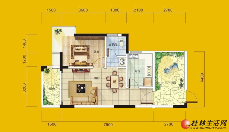 1号楼2号房户型 1室1厅1卫1厨 62.05㎡