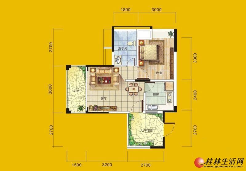 1号楼3号房户型 1室1厅1卫1厨 52.34㎡