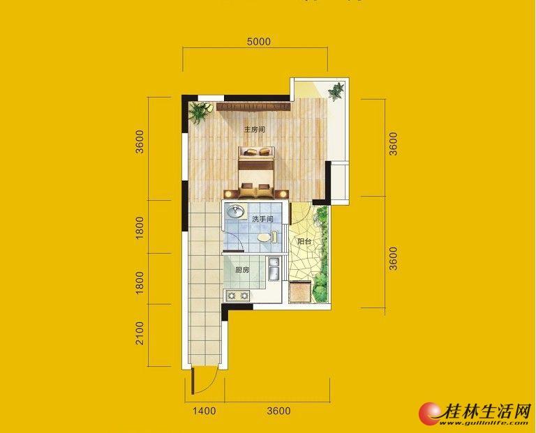 1号楼4号房户型 1室1厅1卫1厨 46.02㎡
