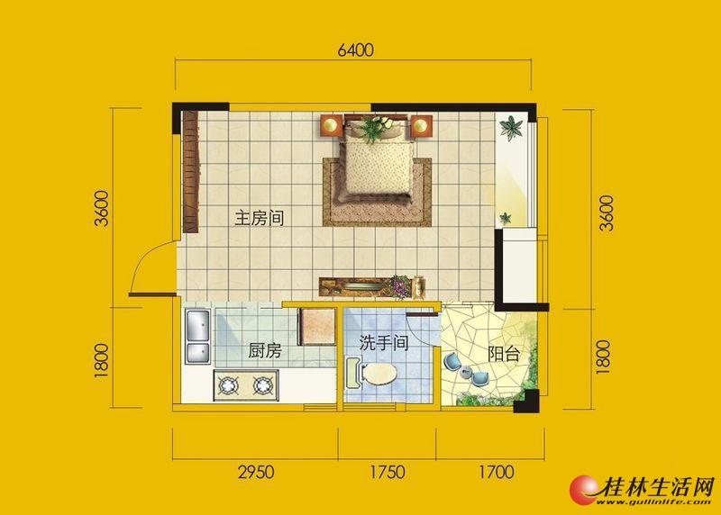 1号楼5号房户型 1室1厅1卫1厨 39.44㎡