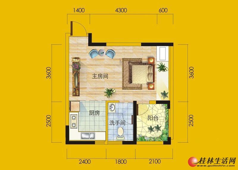 1号楼7号房户型 1室1厅1卫1厨 44.05㎡