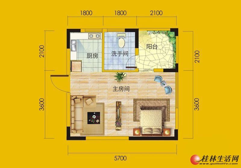 1号楼6号房户型1室1厅1卫1厨 35.94㎡