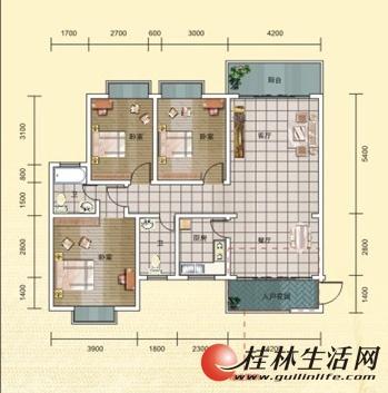2期8号楼2号房 3室2厅2卫 127.58㎡