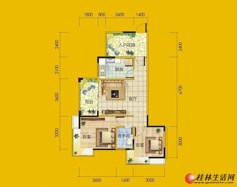 1号楼8号房户型 2室1厅1卫1厨 79.11㎡