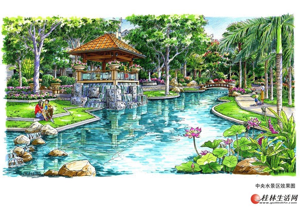 橄榄树庄园效果图中央水景区