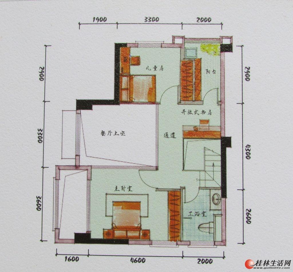 3#双院阁A4二层装修后平面示意图