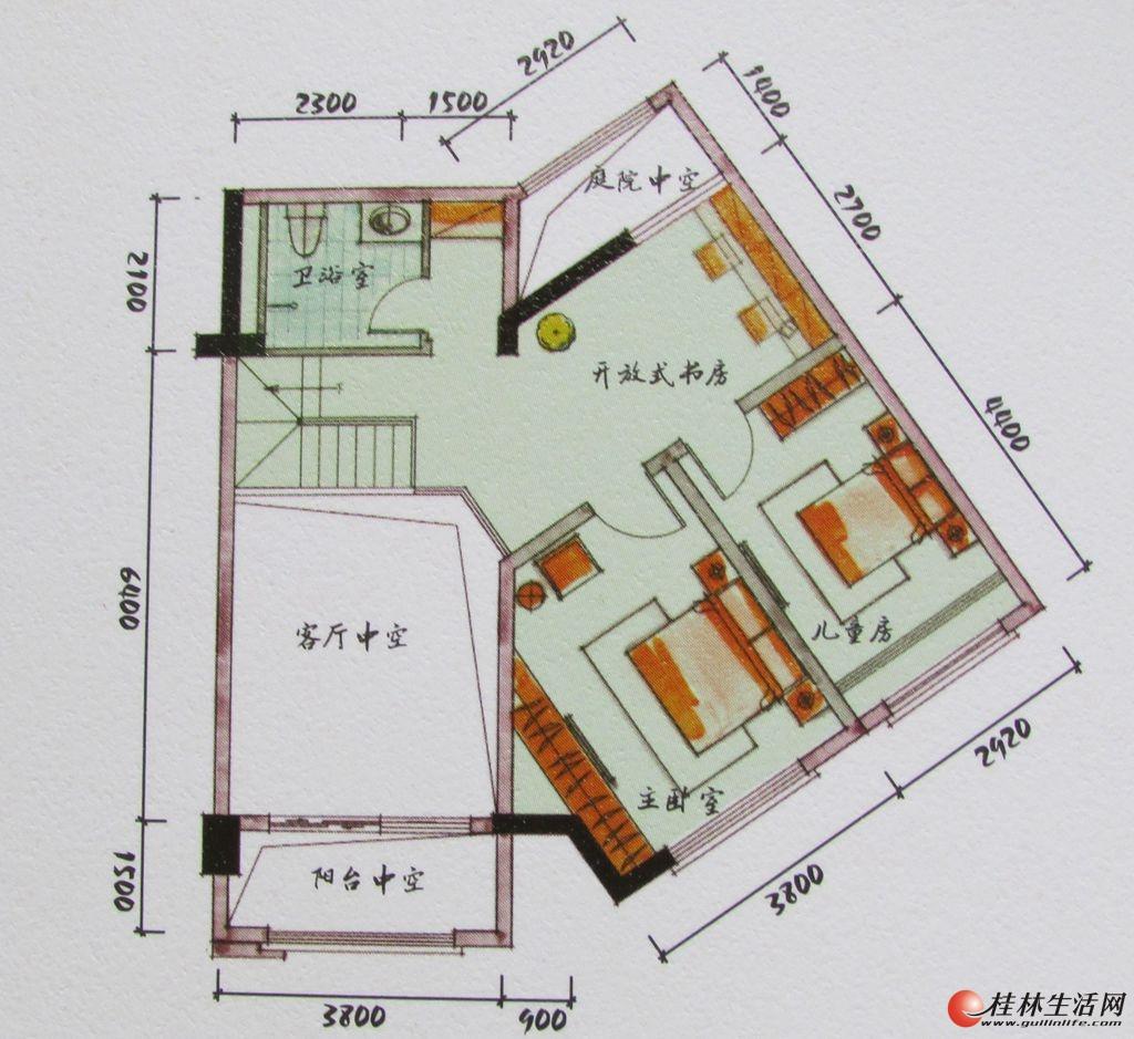 3#双院阁A3二层装修后平面示意图