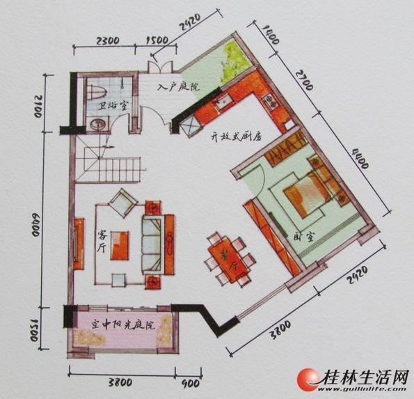 3#双院阁A3一层装修后平面图