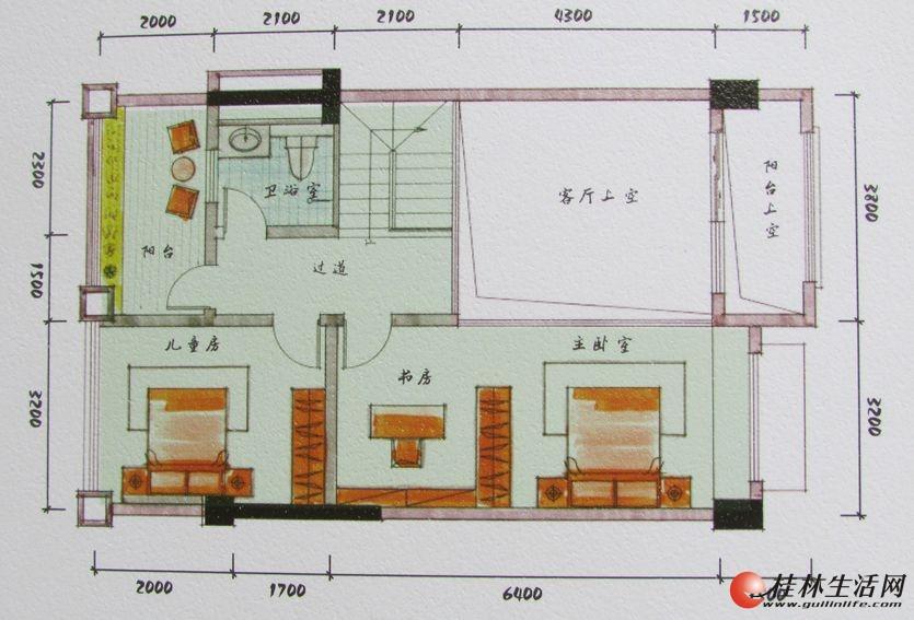 3#双院阁A2二层装修后平面图