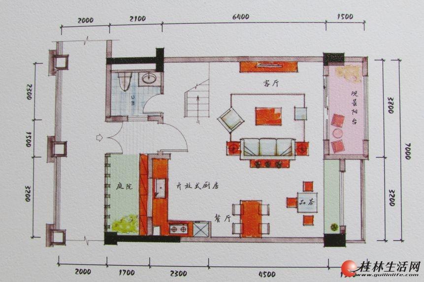 3#双院阁A2一层装修后平面图