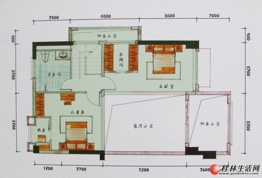 3#双院阁A1二层装修后平面图