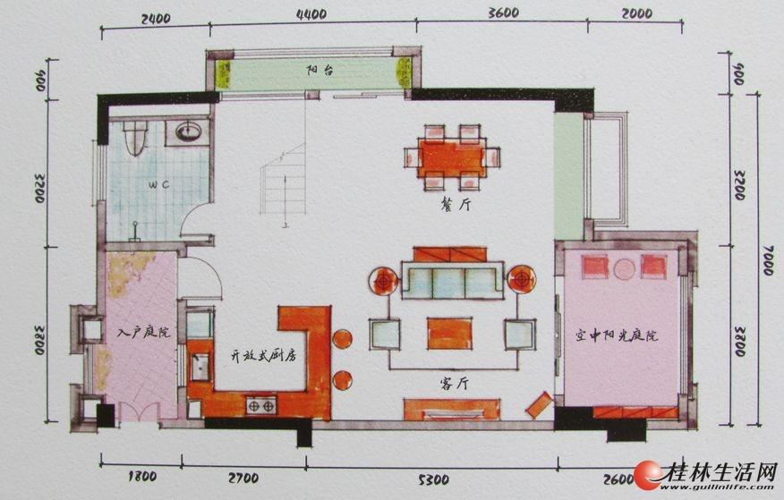 3#双院阁A1一层装修后平面图