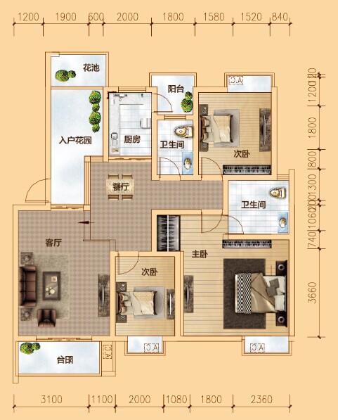 B户型 三室两厅两卫