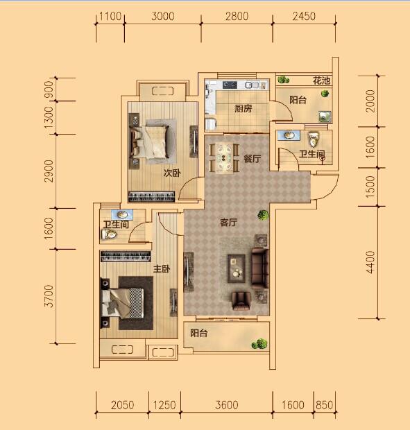 B户型  两室两厅两卫