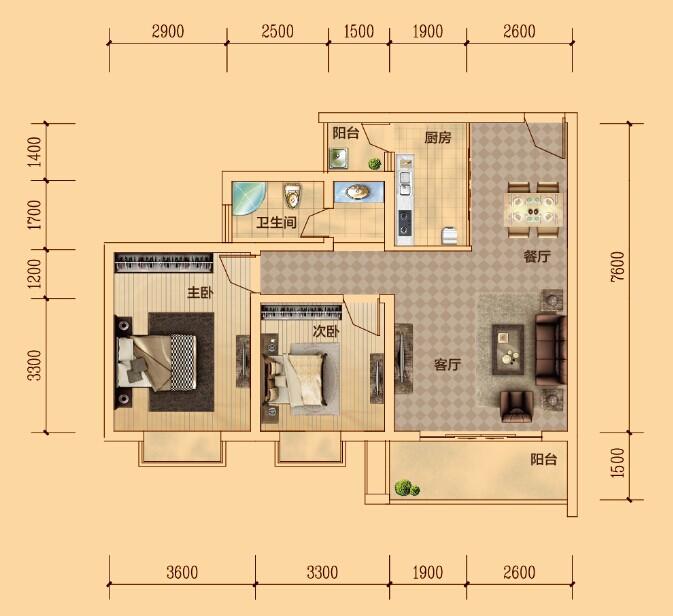 C户型 两室两厅一卫