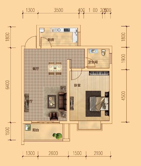 C户型 一室两厅一卫