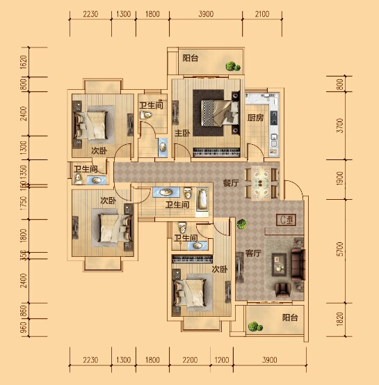C户型 四室两厅两卫