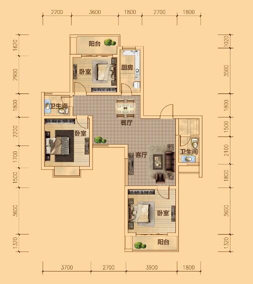 A户型 三室两厅两卫