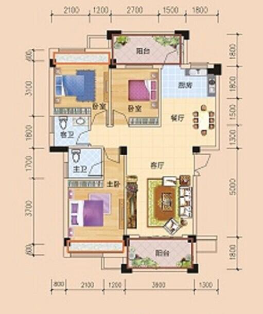 碧园·香槟小镇  户型图  13号楼三房两厅两卫 户型:三房 面积:2
