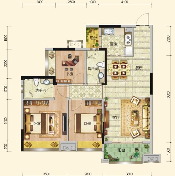 三房两厅一卫两阳台