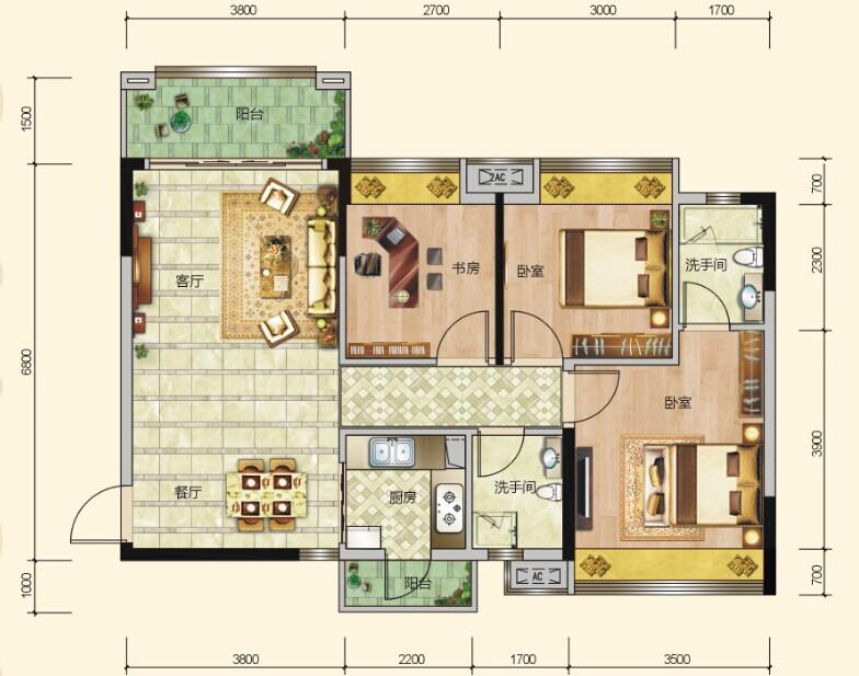 三室两厅一卫两阳台