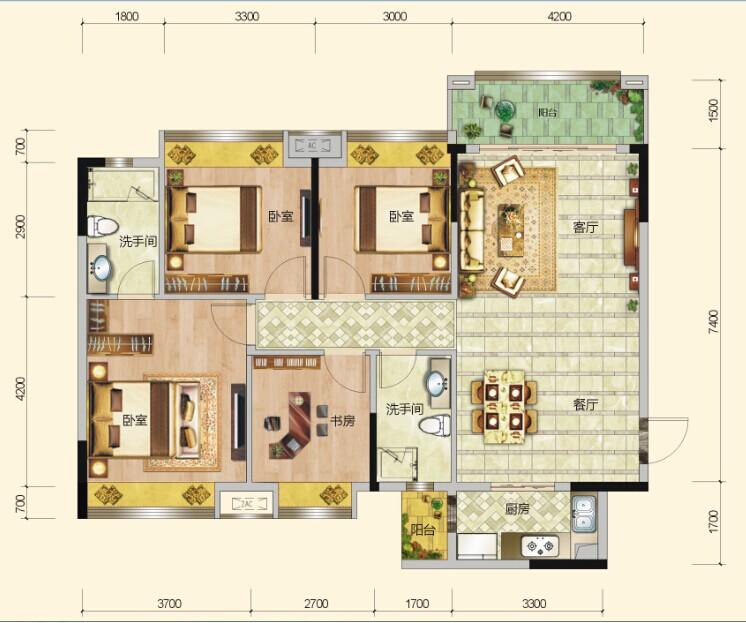 四室两厅一卫两阳台
