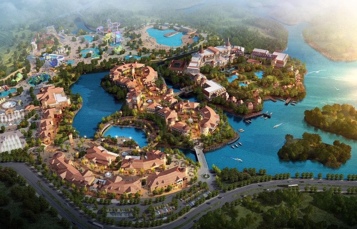 桂林罗山湖国际旅游休闲度假区园区鸟瞰图