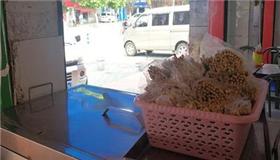 米粉店将一次性筷子洗净晾干给客人用
