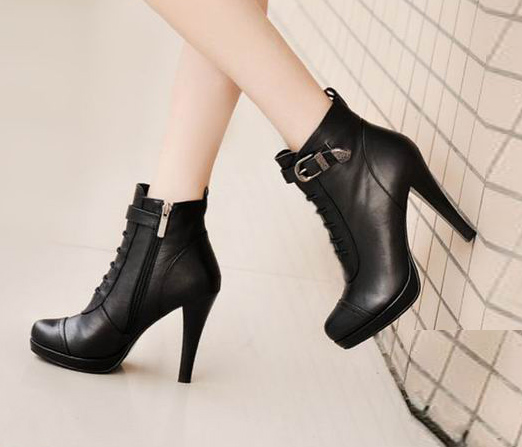 皮带扣黑色全牛皮女靴子裸靴