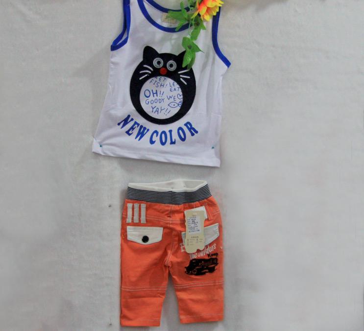 男童黑猫背心短裤套装