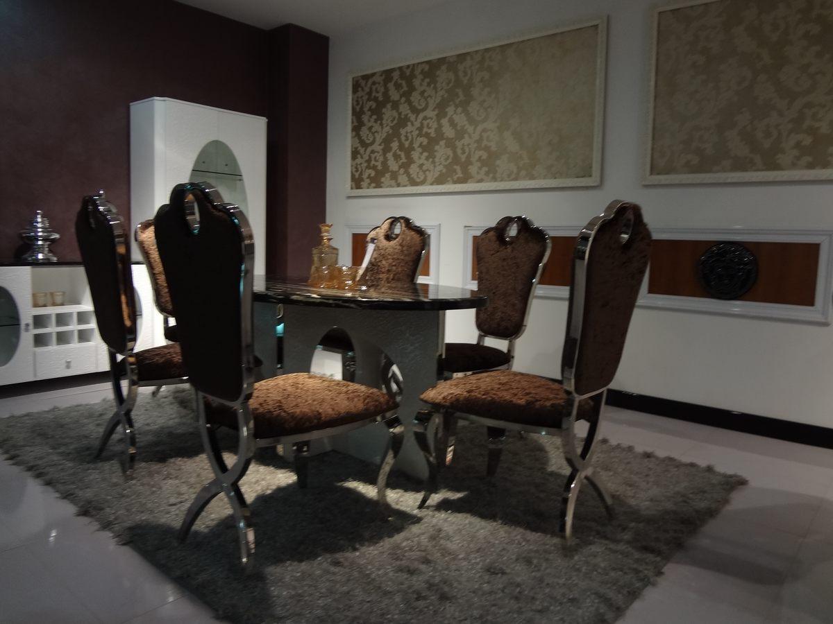 欧式1圆形餐桌6餐椅
