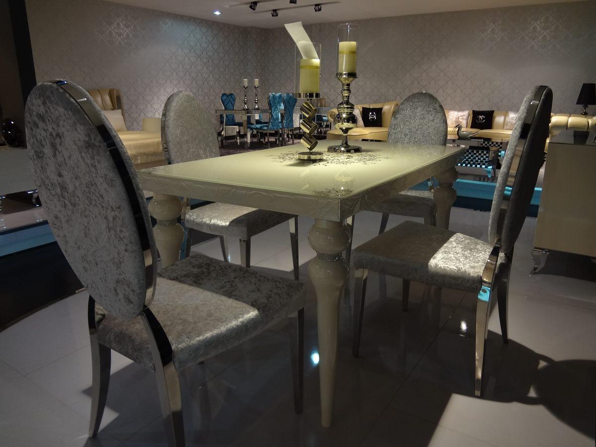 白色暗纹方形餐桌4餐椅