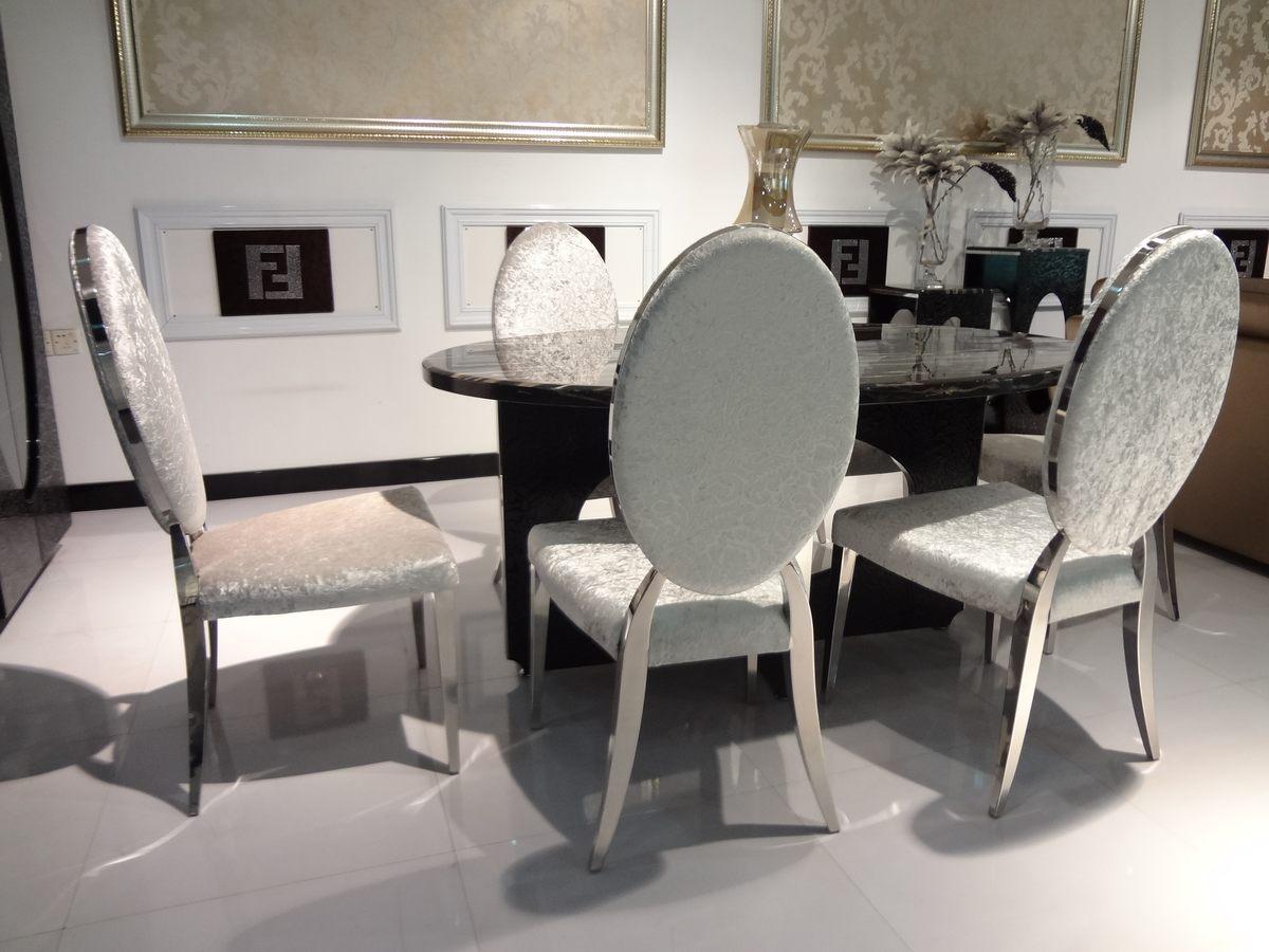 1黑色圆形餐桌4白色餐椅