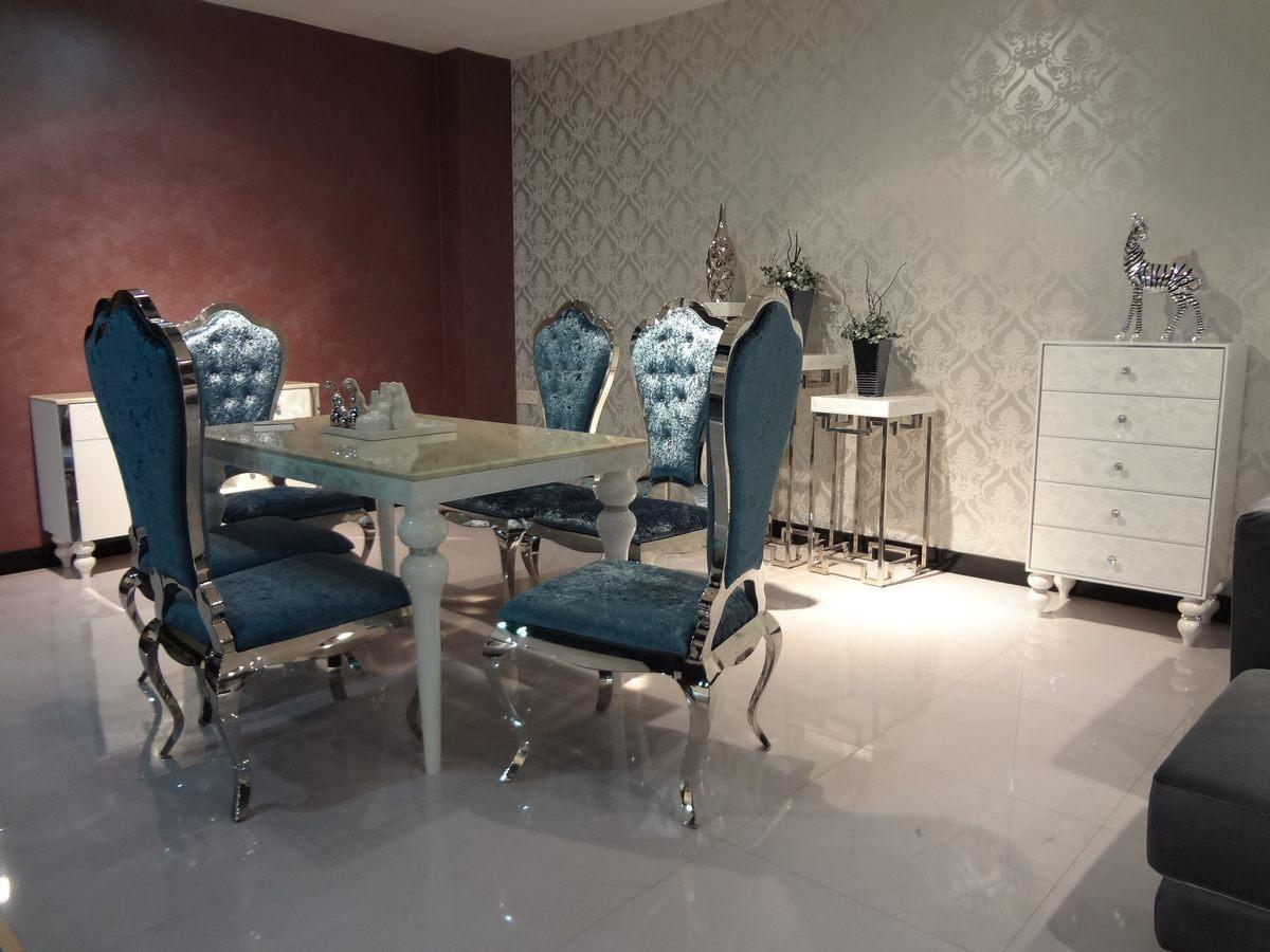 1白色方形餐桌6蓝色餐椅