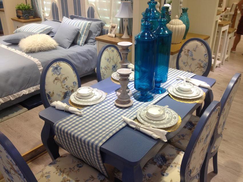 海蓝印花1餐桌6餐椅