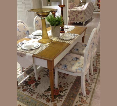 淡雅印花长方形餐桌4餐椅