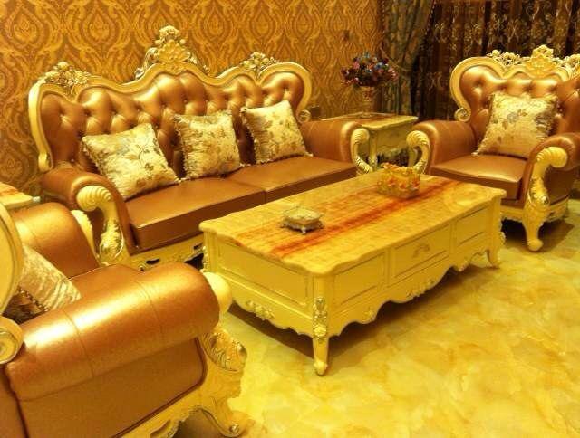 卡西露法式奢华真皮全实木沙发