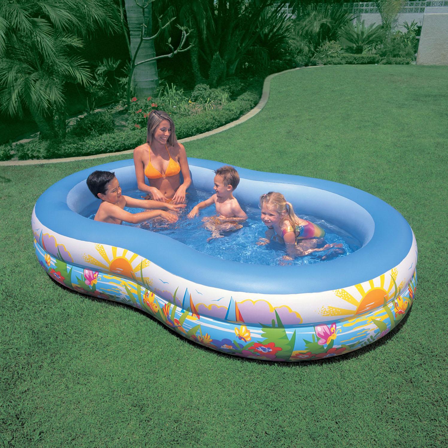 intex 8字形时尚家庭游泳池 儿童游泳池 充气水池 262*160*46cm
